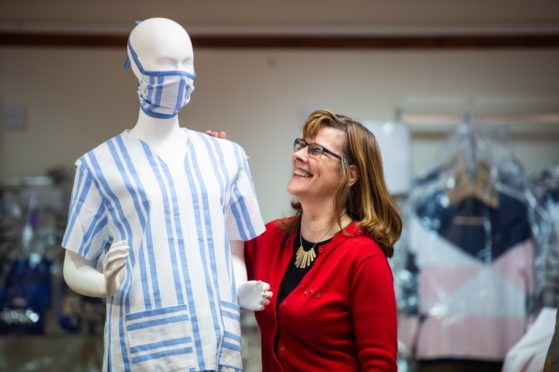 Maureen Halkett helped run a project to make scrubs and masks for the NHS frontline workers.
