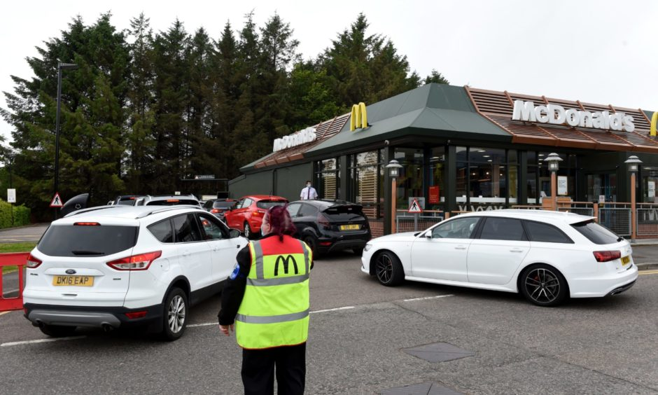 Queues at McDonalds, Bridge of Don, show the popularity of drive-thru restaurant which experts claim is growing in the city.