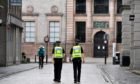 Police on patrol during lockdown in Aberdeen city centre.