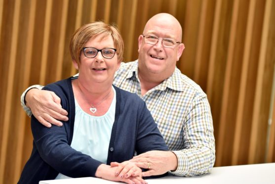 Avril Mathieson with her husband Davie.