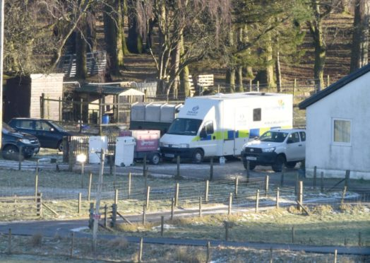 Picture by SANDY McCOOK    8th January '21 Police activity and searching continues on the Auch Estate between Bridge of Orgy and Tyndrum for cyclist Tony Parsons of Tillycoultry who has now been missing for three years.