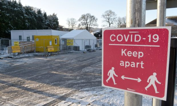 The Covid test centre in the Highland Council car park in Glenurquhart Road, Inverness.
