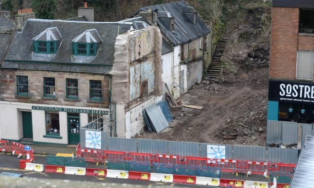 The Castle Street property demolished to make way for flats.
