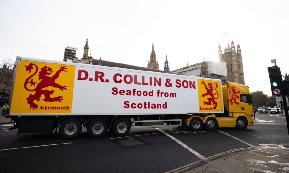 A seafood lorry used in the protest in London.