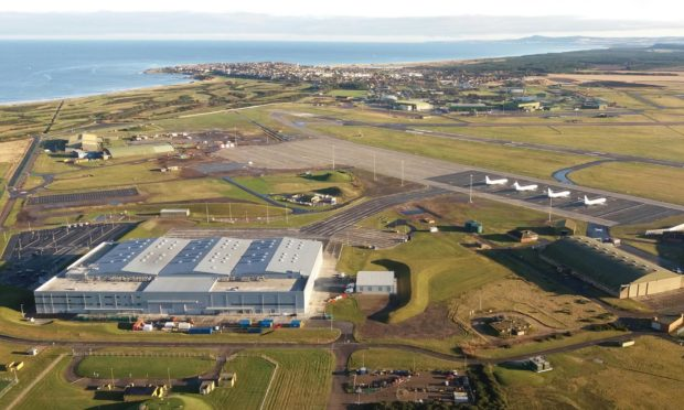An aerial view of RAF Lossiemouth in Moray.