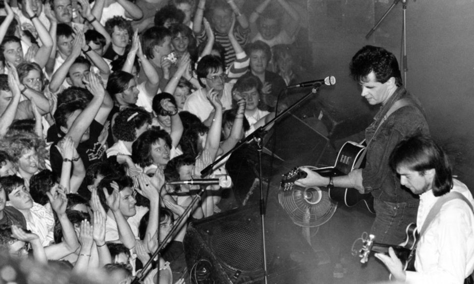 Runrig lead singer Donnie Munro and lead guitarist Malcolm Jones pictured at their 1988 gig at the  Music Hall. They played to a sold-out crowd as part of the Aberdeen Alternative Festival.