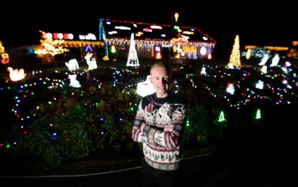 Callum Stuart with this year's Christmas lights.