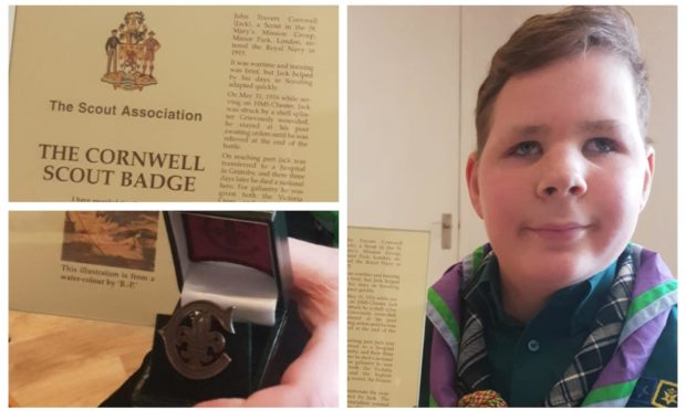 Theo Harvey, 13, of 1st Alford Scout Group, received the Cornwell Scout Badge for showing courage and endurance after losing his sight. Theo has raised more than £7,500 for Guide Dogs for the Blind.