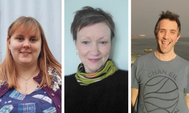 Left to right: Hannah Nicholson, Gillian Shearer and Roddy Neithercut, three of the winners of the Scottish Book Trust's New Writers Awards 2021