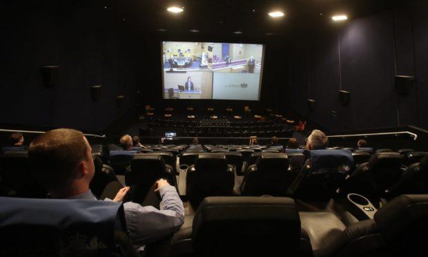 A mock jury trial is shown at the Odeon cinema, Edinburgh.