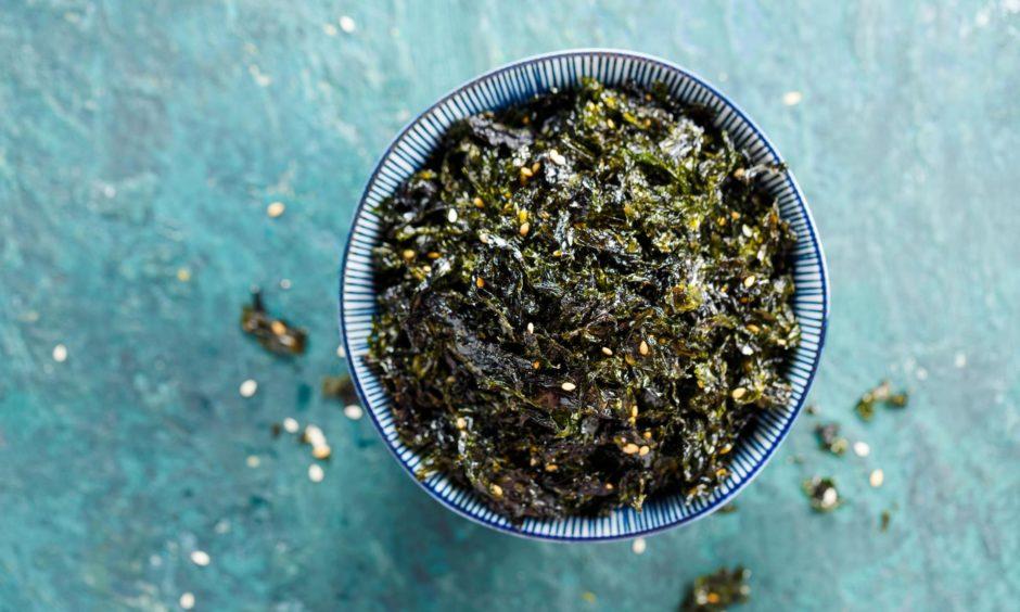 Seasoned seaweed as a snack.