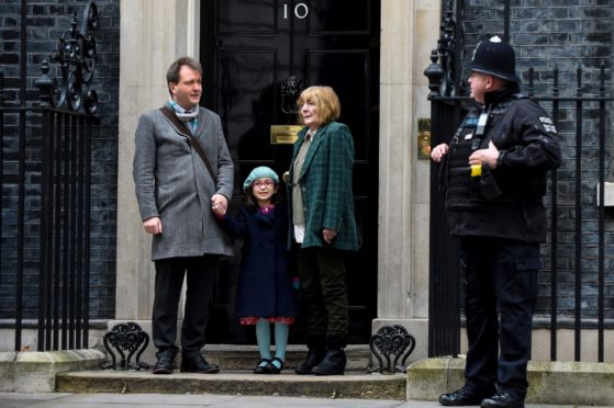 Richard Ratcliffe in Downing Street with his mother Barbara and daughter Gabriella for talks with the Prime Minister. 23 Jan 2020 Photo by Stephen Chung/LNP/Shutterstock
