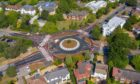 Aerial shot of the UK's first Dutch-style roundabout, opened in Cambridge last year.