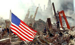 AMERICAN NIGHTMARE: Rescue workers search for survivors among the ruins of the World Trade Centre at Ground Zero in 2001.