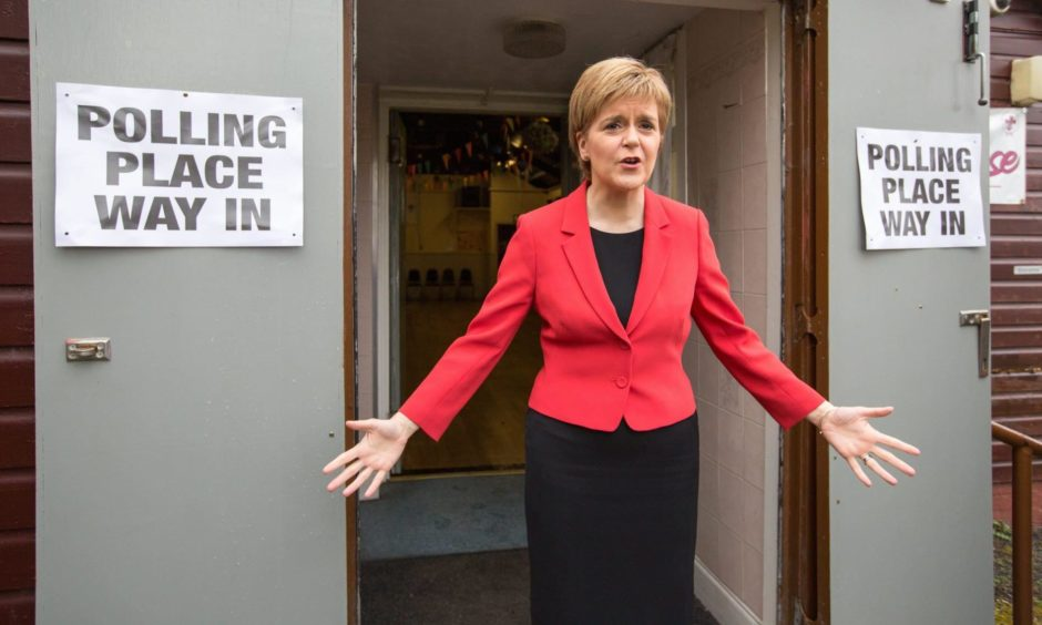 First Minister Nicola Sturgeon arrives to vote in the 2016 Holyrood elections.