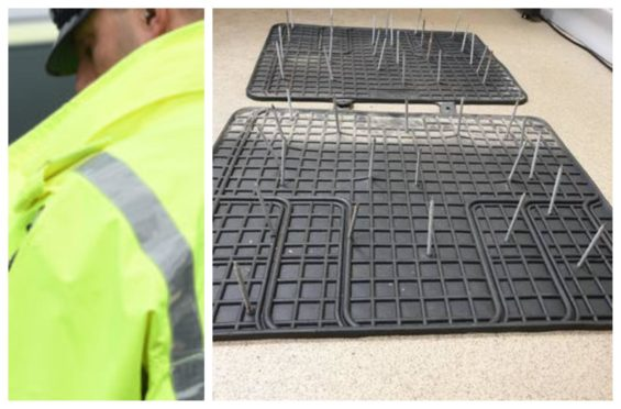 Police are appealing for information after car mats with nails were found on a north road