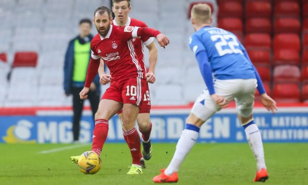 Niall McGinn in action for Aberdeen against St Johnstone.