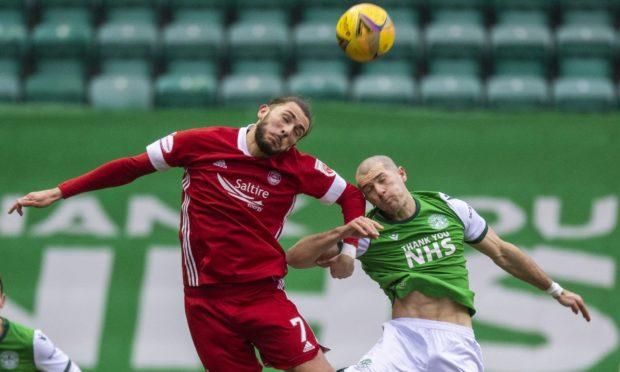 Fraser Hornby in action against Hibernian.