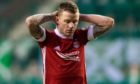 Aberdeen's Jonny Hayes at full time after the 2-0 defeat against Hibernian at Easter Road.