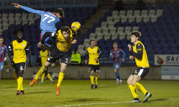 Inverness' Nikolay Todorov misses a chance during a Scottish Championship match between Inverness Caledonian Thistle and Queen of the South at Tulloch Stadium on February 17, 2021.