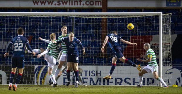 Jordan White heads home the winner against Celtic.