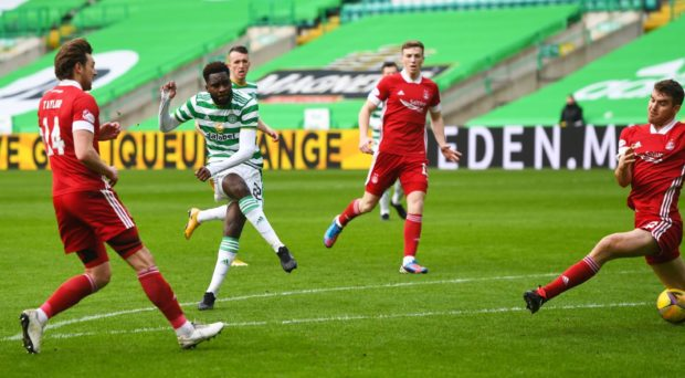 Odsonne Edouard scores to condemn Aberdeen to a 1-0 loss on Saturday.