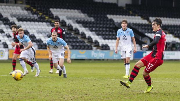 St Mirren's Jamie McGrath scores to make it 1-0 St Mirren against Ross County.