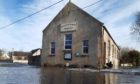 Flooding at the village hall in Garmouth.