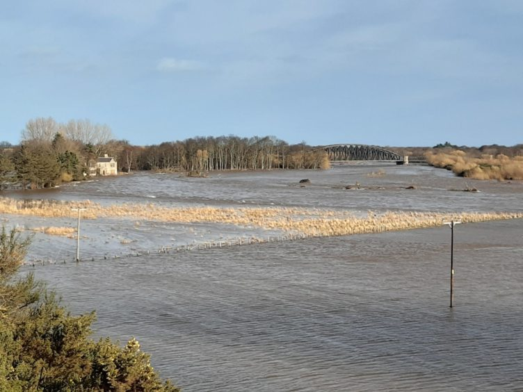 Flooding on Garmouth golf course and upstream.