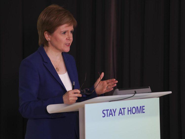 Nicola Sturgeon was speaking from Edinburgh