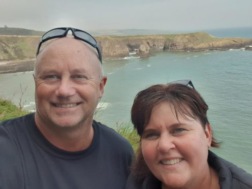 Australian author Karly Lane, with husband Will, on a visit to Portsoy and a tour of Scotland which influenced her latest book.  Supplied by Karly Lane