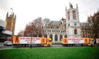 Scottish seafood lorries parked in Parliament Square in central London