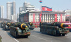 Missiles on show during a military parade in North Korea's capital, Pyongyang