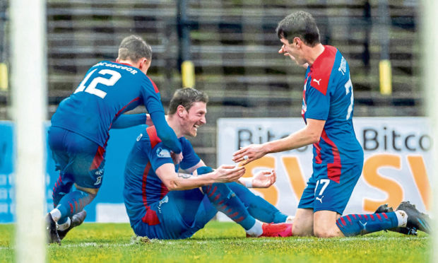 Shane Sutherland celebrates his goal against Ayr United.