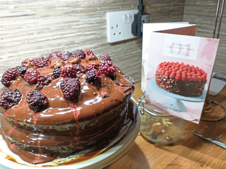 Susan Welsh's attempt and making the chocolate and raspberry cake from the bake off box