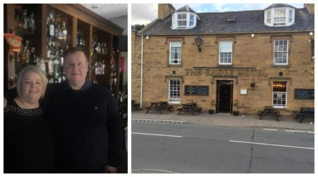 Owners Eric and Suzanne De Venny and Eagle Hotel in Dornoch.