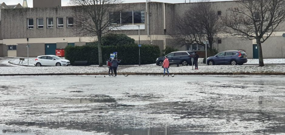 People spotted skating on Cooper Park's pond despite the council warning people not to skate or walk.