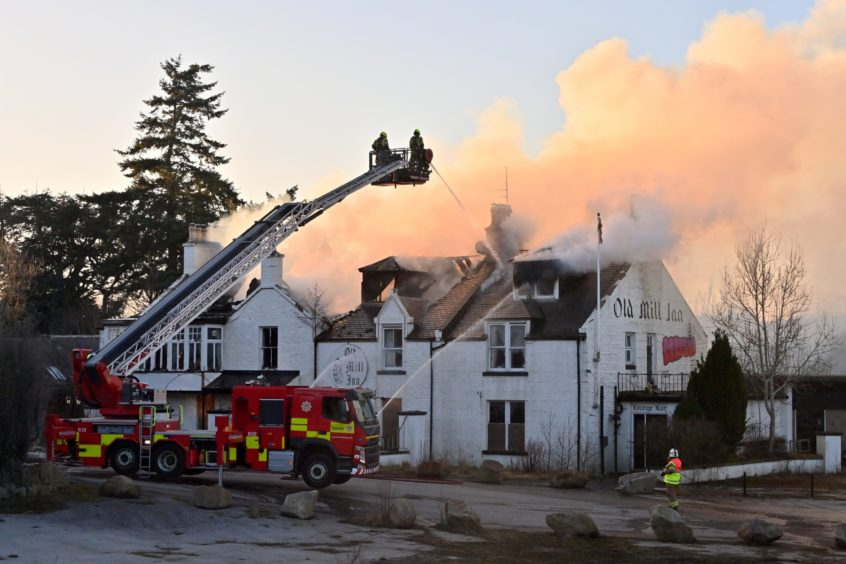 The fire at the derelict building in Maryculter.