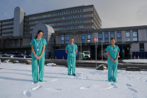 Rachael Ironside, Sean Berryman and Claire McAvoy at Aberdeen Royal Infirmary. Supplied by NHS Grampian