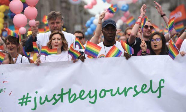 Aberdeen Grampian Pride Parade down Union Street, Aberdeen. 25/05/19 Picture by HEATHER FOWLIE
