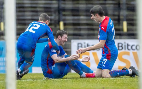 AYR, SCOTLAND - FEBRUARY 20: Inverness' Shane Sutherland (centre) celebrates making it 2-0 with Nikolay Todorov and Roddy MacGregor during the Championship clash with Ayr.