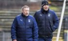 Caley Thistle manager John Robertson and first-team coach Barry Wilson during a Scottish Championship match against Ayr United.