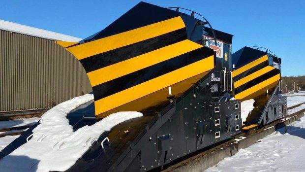 A snow plough is being used to clear the train tracks between Keith and Inverurie.