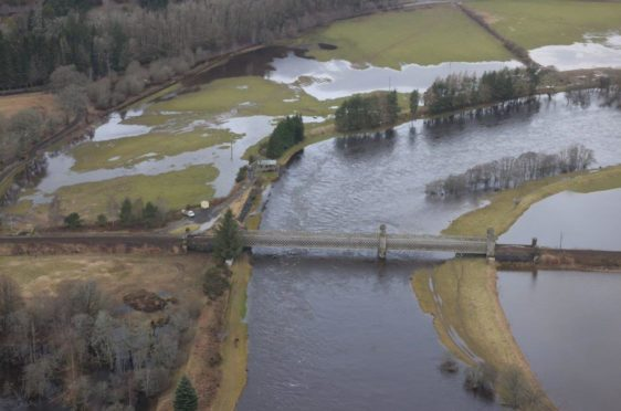 Pictured: Flooding near the Inver Viaduct.
