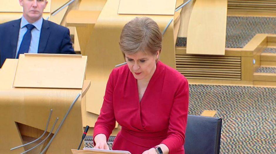 First Minister Nicola Sturgeon addressing Holyrood on Tuesday.