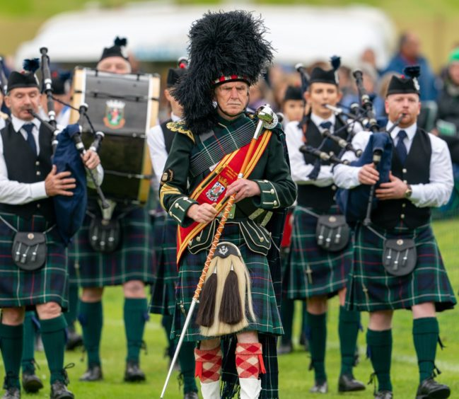 This is a scene from the 2019 Highland Games held at Forres.