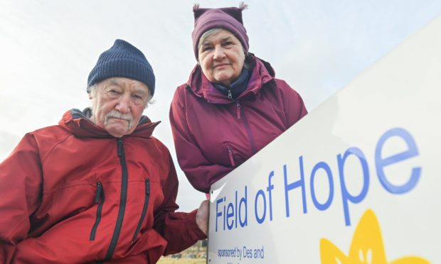 """Mike and Des Budd say the vandalism at the Tomintoul field of hope is """"disrespectful""""."""
