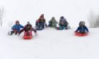Children in Auchenblae having been making the most of the snowy weather in between lessons