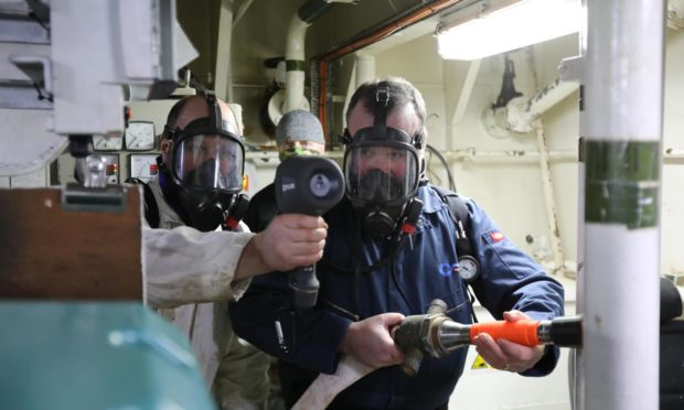 Orkney Ferries crew members completing a hydrogen fire safety course. Colin Keldie