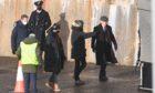 Cillian Murphy on set in Portsoy.